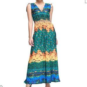 Peacock print maxi dress.  Great colors!  NWT 2XL